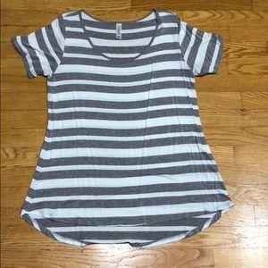 Grey/white stripped LuLaRoe shirt